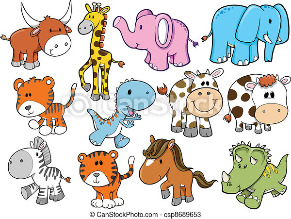 Animal Wildlife Safari Vector Set - csp8689653