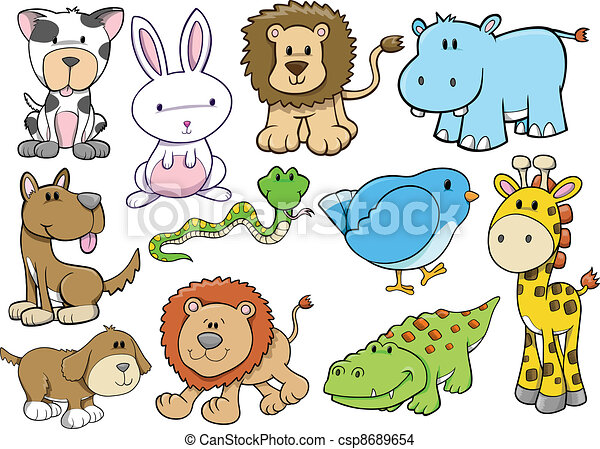 Animal Wildlife Safari Vector Set - csp8689654