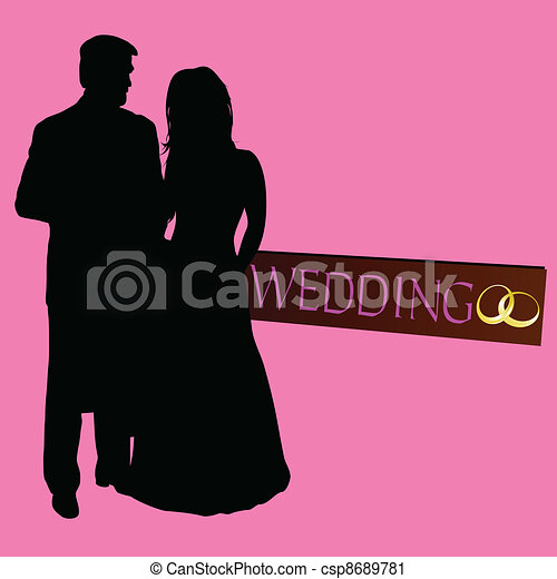 Vector couple wedding silhouette with rings
