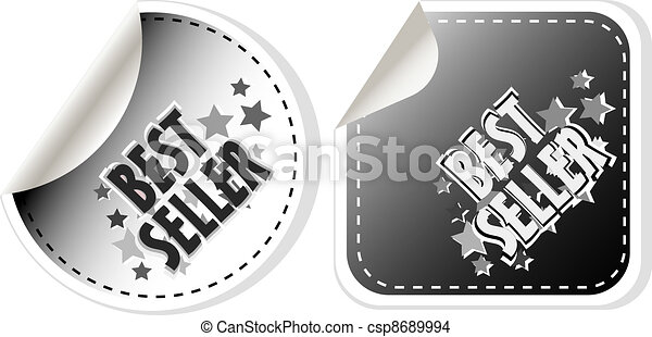 Best seller stickers set isolated on white - csp8689994