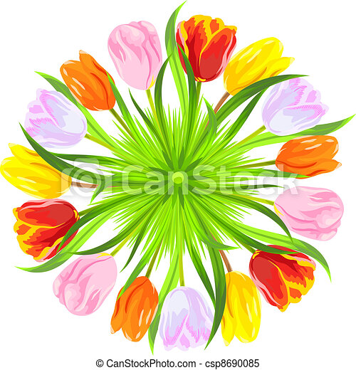 vector round card of colorful spring tulips in grass - csp8690085