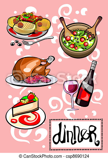 EPS Vector of Dinner Menu Pictures - Different Food and Drinks ...