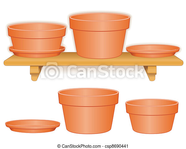 Flowerpots on Wood Shelf - csp8690441