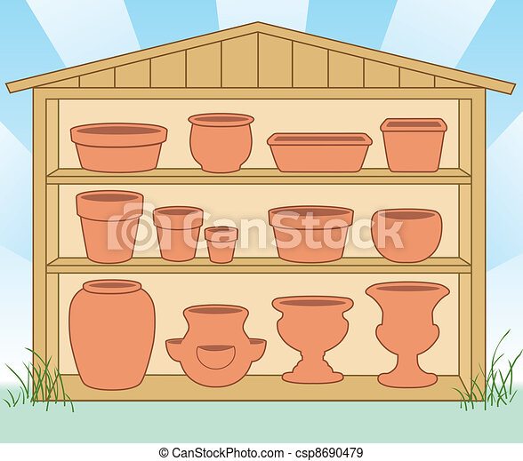 Storage Shed, Flowerpots, Pottery - csp8690479
