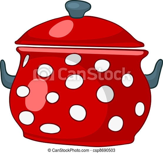 Vector cartoon home kitchen pot stock illustration royalty free