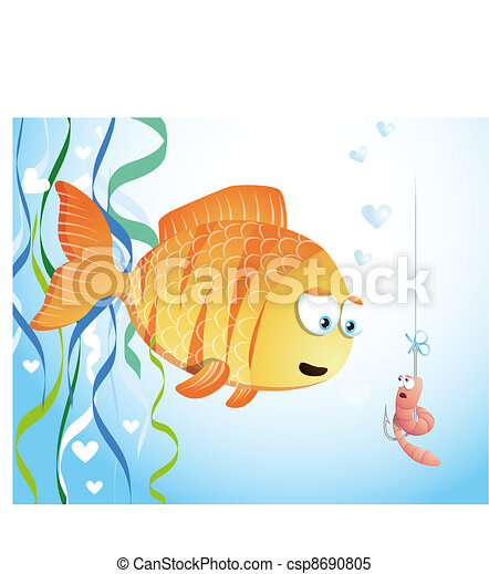 Cute fish and worm - csp8690805
