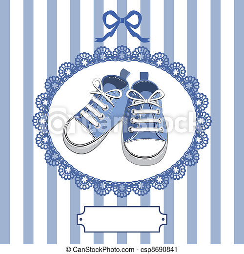 Blue baby shoes and frame - csp8690841