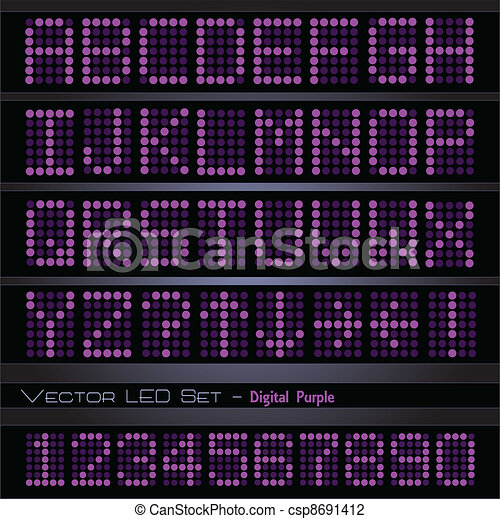 Purple Digital Font - csp8691412