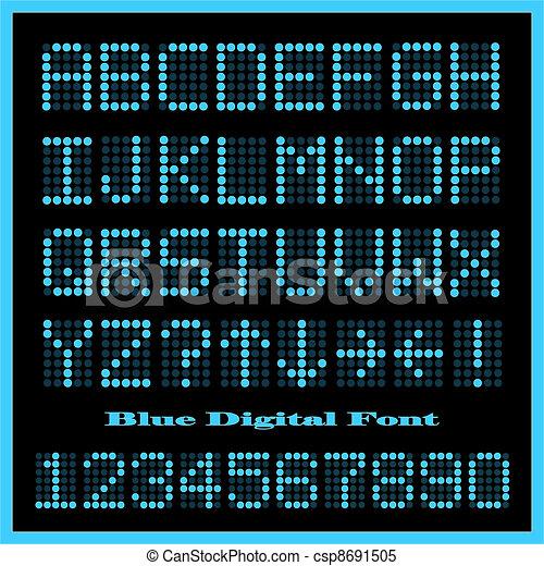 Blue Digital Font - csp8691505