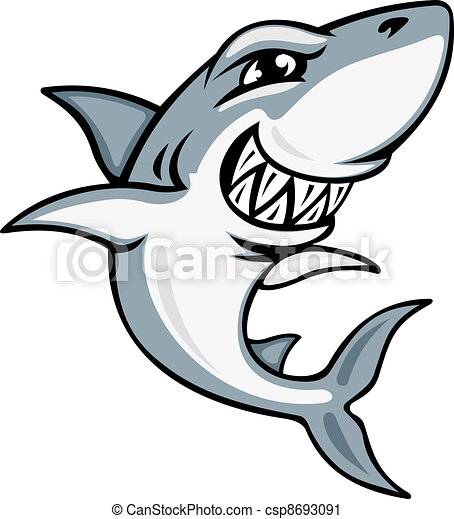 Cartoon shark mascot - csp8693091