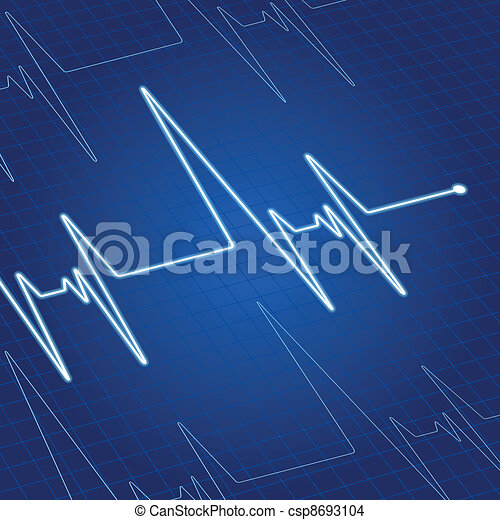 Heart pulse on screen - csp8693104