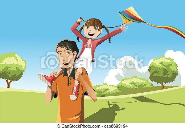 Father daughter playing kite - csp8693194