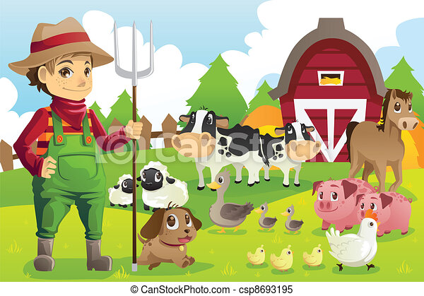 Farmer at the farm with animals - csp8693195