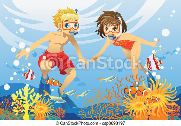 Vectors Illustration of Kids swimming underwater - A ...