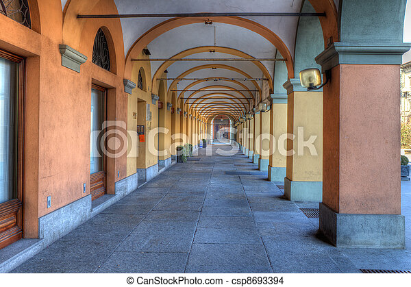 Old passage in Alba, Italy. - csp8693394