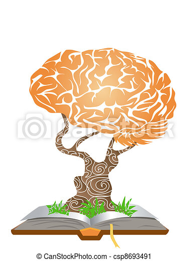 brain tree on book - csp8693491