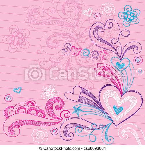 Sketchy Heart Love Doodles Vector - csp8693884