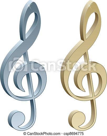 3d metallic violin clefs - csp8694775