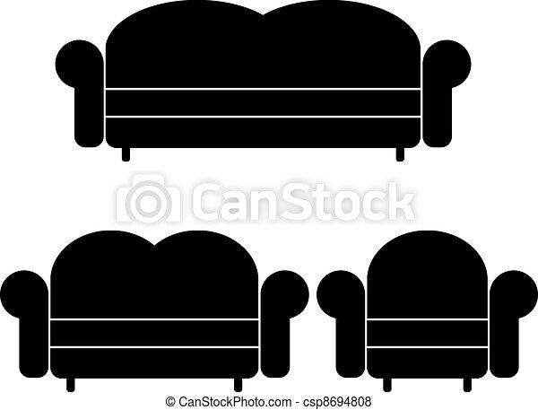 vector sofas and armchair - csp8694808