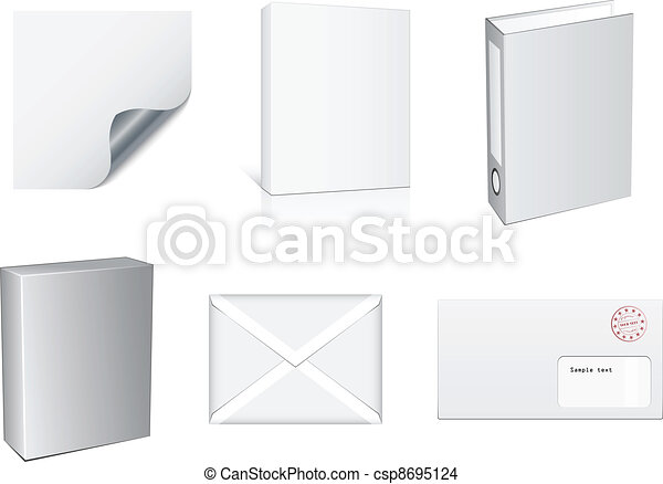 vector white paper objects - csp8695124