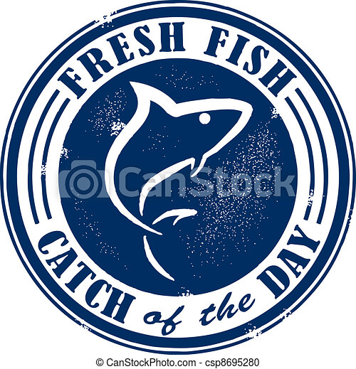 Catch of the Day Stamp - csp8695280