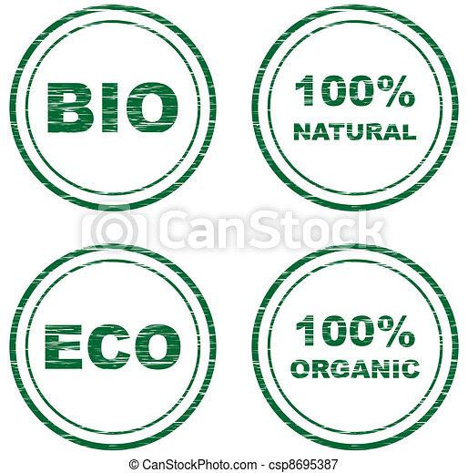 vector scratched eco stamps - csp8695387