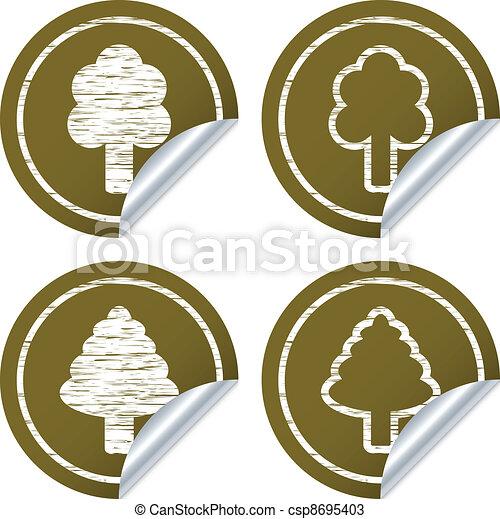 vector scratched eco stickers - csp8695403
