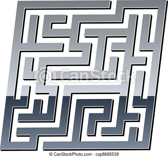 3d Maze Drawing Vector Vector 3d Shiny Maze