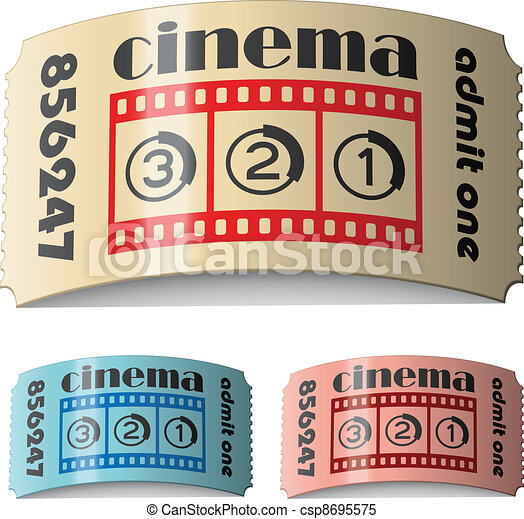 vector 3d shiny curled cinema tickets - csp8695575