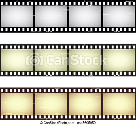 vector scratched seamless film strips - csp8695950