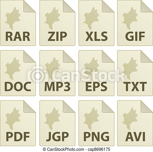 vector aged document icons - csp8696175