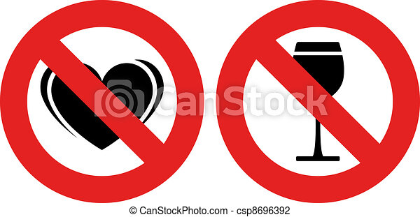 vector no allowed love and alcohol marks - csp8696392