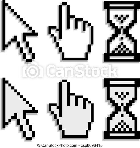 Vecteur Clipart de vecteur, pixel, Curseurs, vrai, Brouillé, ombre ...