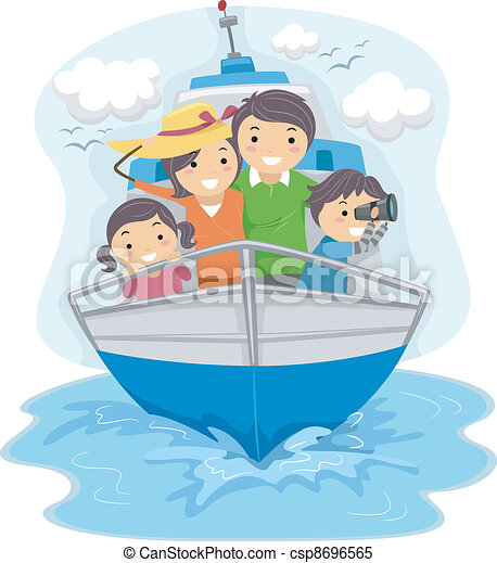 Family Traveling by Ship - csp8696565