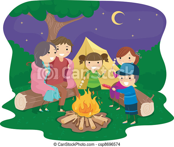 Family Bonfire - csp8696574