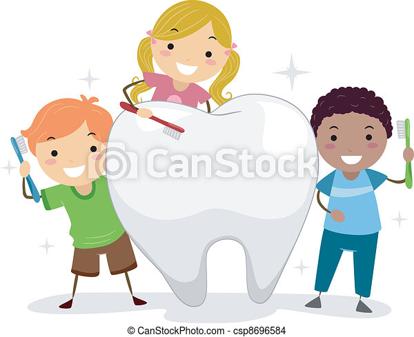 Kids Brushing a Tooth - csp8696584