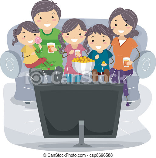 Family Watching tv Together Drawing of a Family Watching a tv