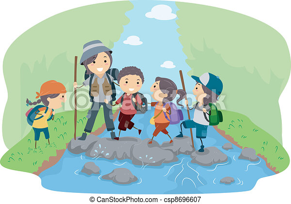 Campers Crossing a River - csp8696607