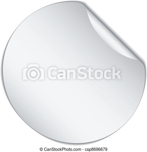 vector white bended sticker - csp8696679