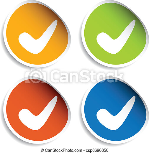 vector positive checkmark stickers - csp8696850