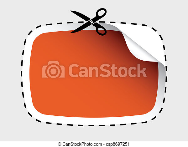 vector scissors cutting sticker - csp8697251