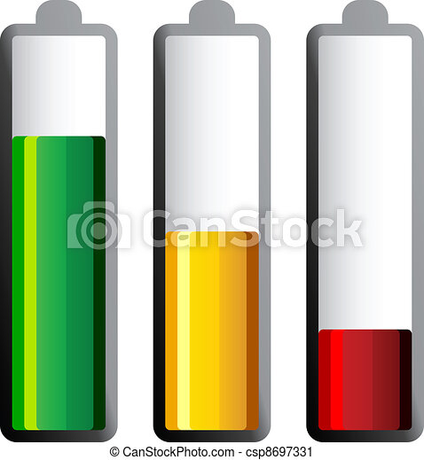 vector batteries with different charge levels - csp8697331