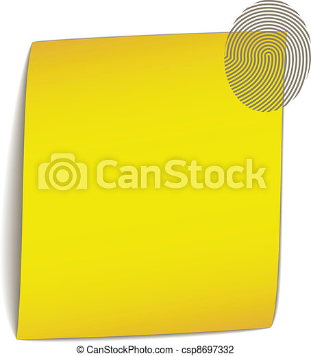vector yellow bend paper with fingerprint - csp8697332