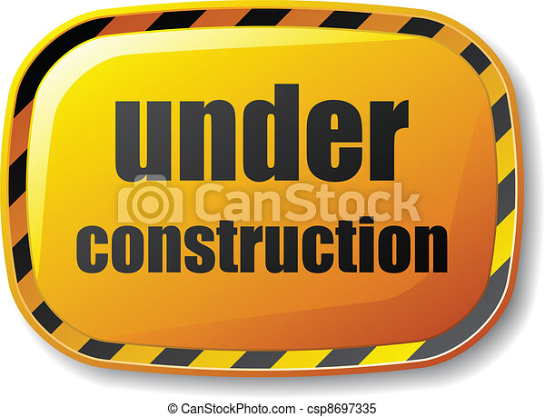 vector under construction rectangle button - csp8697335