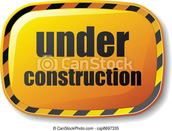 vector under construction rectangle button - csp8697335