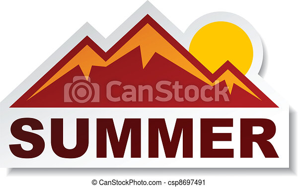 vector summer mountain sticker - csp8697491