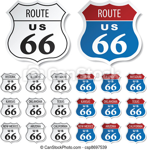 vector historic route 66 stickers - csp8697539