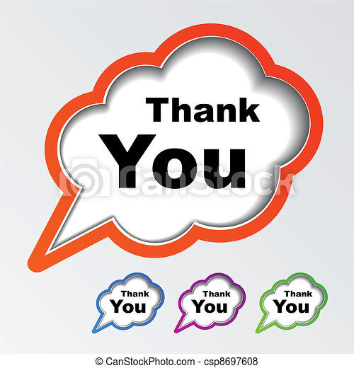 vector cloud speech bubbles thank you - csp8697608