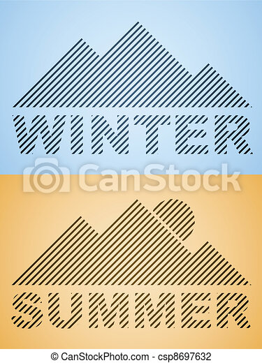 vector striped winter and summer mountain - csp8697632