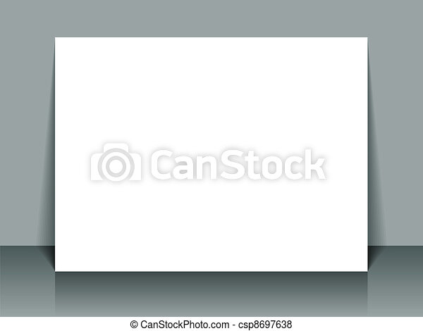 Vector white banner propped on wall - csp8697638
